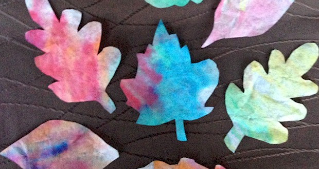 Fall crafts for kids - Coffee filter leaves