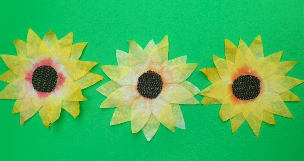 Coffee Filter Sunflowers Craft from Activities For Kids
