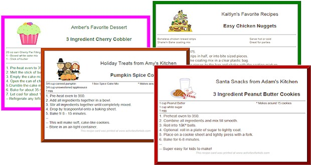 custom printable recipe cards for kids