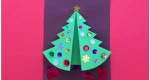 Folded Christmas Tree Card.  Printable template and instructions.