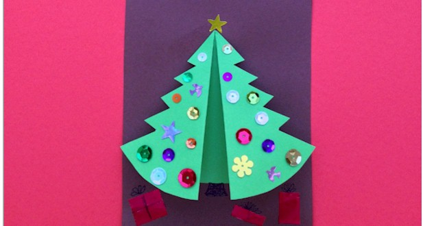 folded christmas tree craft for kids - Christmas Tree Card