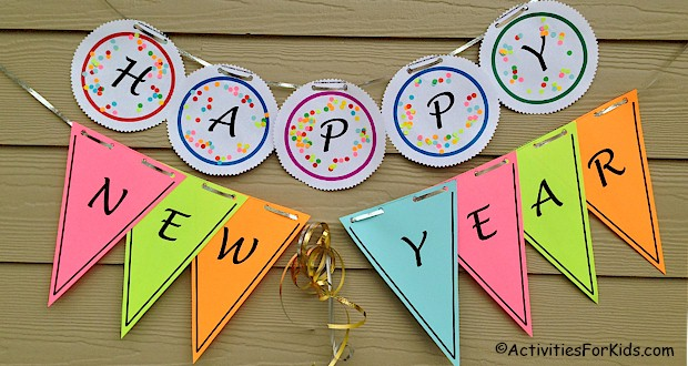 Happy New Year Banner Printable activity for Kids.
