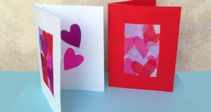 Tissue Paper Hearts Valentine's Day Card for Kids to make.