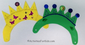 DIY Prince or Princess Crown with printable template.  Great party craft for kids.