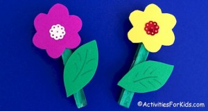 Flower Magnets Craft for kids using clothespins