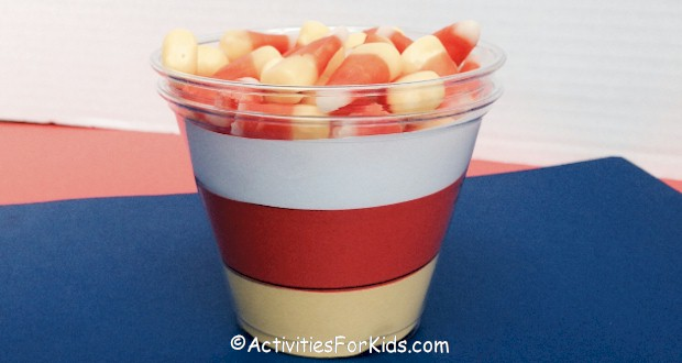 Candy Corn Cup craft for Halloween.
