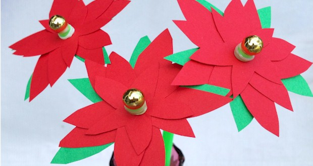 Poinsettia flower craft for kids to make.