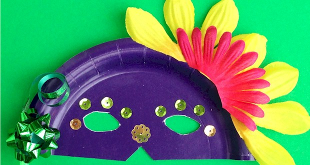 Paper plate masks mardi gras crafts for kids for Mardi gras masks crafts