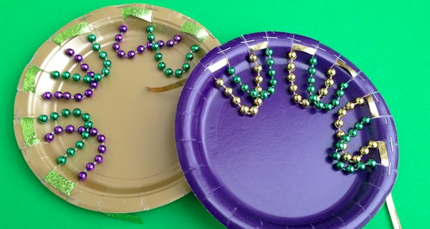Mardi Gras craft for kids, Paper plate tambourine using colorful Mardi Gras Beads