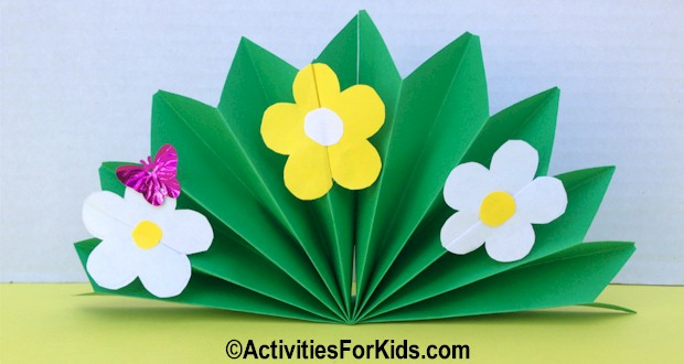 Pleated paper with colorful spring flowers.