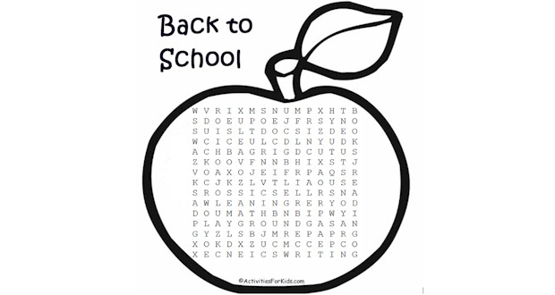 Back to School Word Search free printable for your classroom or child.