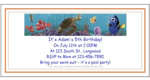 Finding Nimo Party, Finding Dory Party Invitations.  Free printable