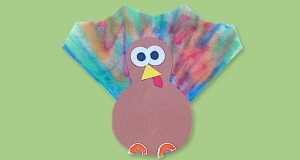 Preschool Thanksgiving Craft Coffee filter Turkey Feathers