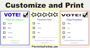 Classroom voting ballots for kids - customize and print.