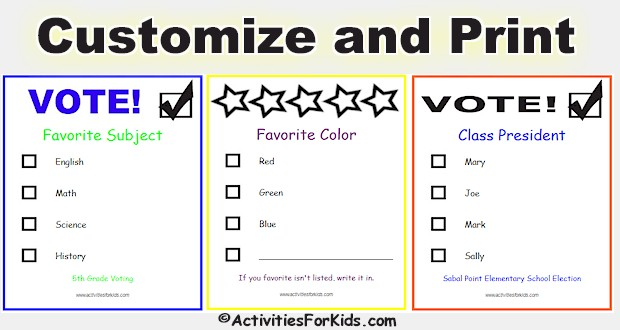 Printable voting ballots for kids add your candidates for Voting slips template