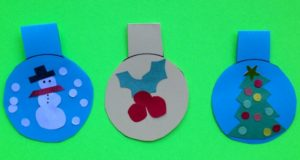Kids can be creative with these Christmas Ornament Gift Tags though a printable of ideas is also available.  Free printable for the ornament and decorations at ActivitiesForKids.com