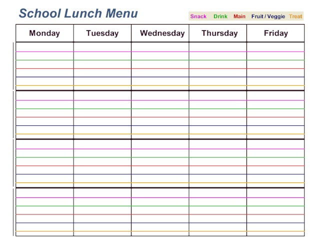 School Lunch Menu Printable to make packing lunches stress free.