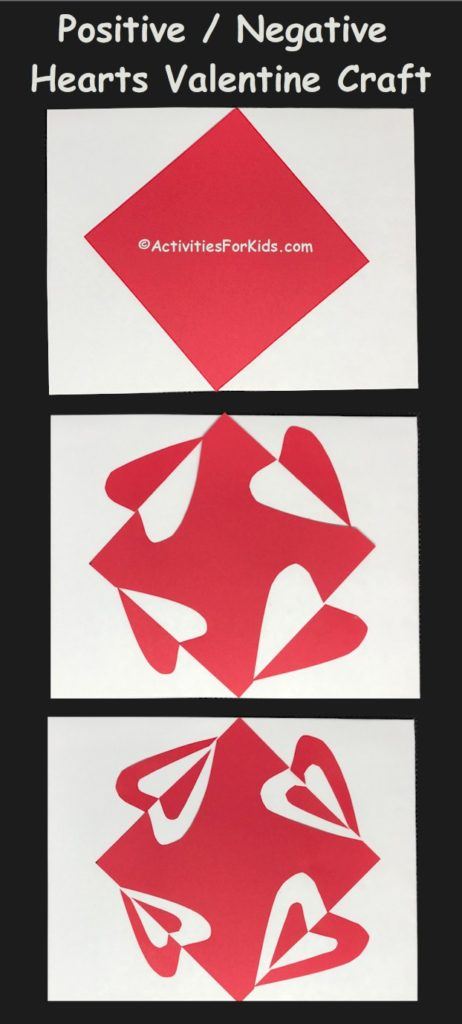 Japanese art style of Notan is used to create an expanded square for a Valentine Craft with Positive and Negative space.