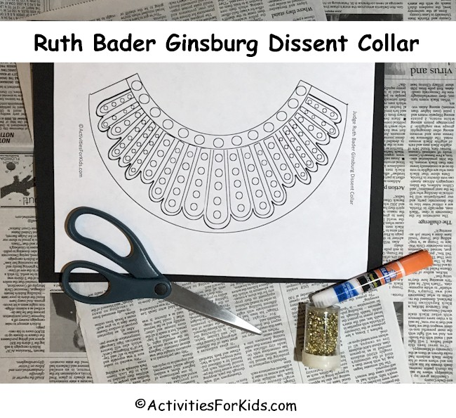 Free print out for Ruth Bader Ginsburg's Dissent Collar DIY for kids.