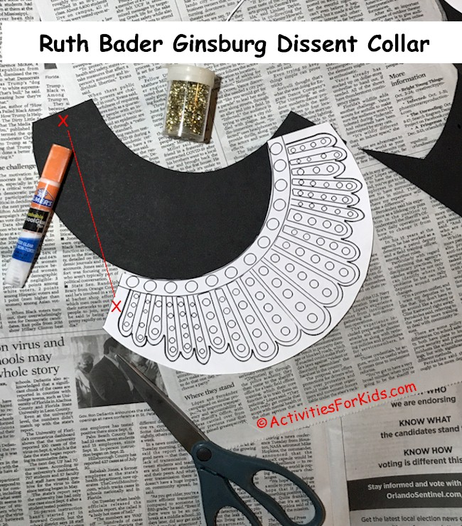 Step by step instructions for Ruth Bader Ginsburg's Dissent Collar DIY for kids.