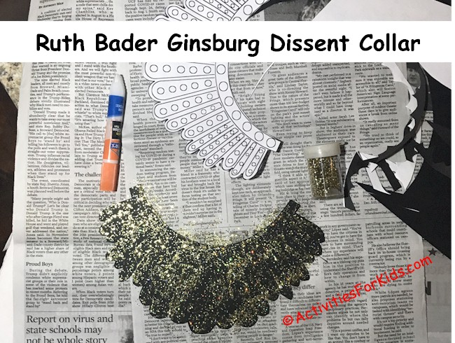Step by step instructions for Ruth Bader Ginsburg's Dissent Collar DIY for kids. Adding gold glitter to the glue.