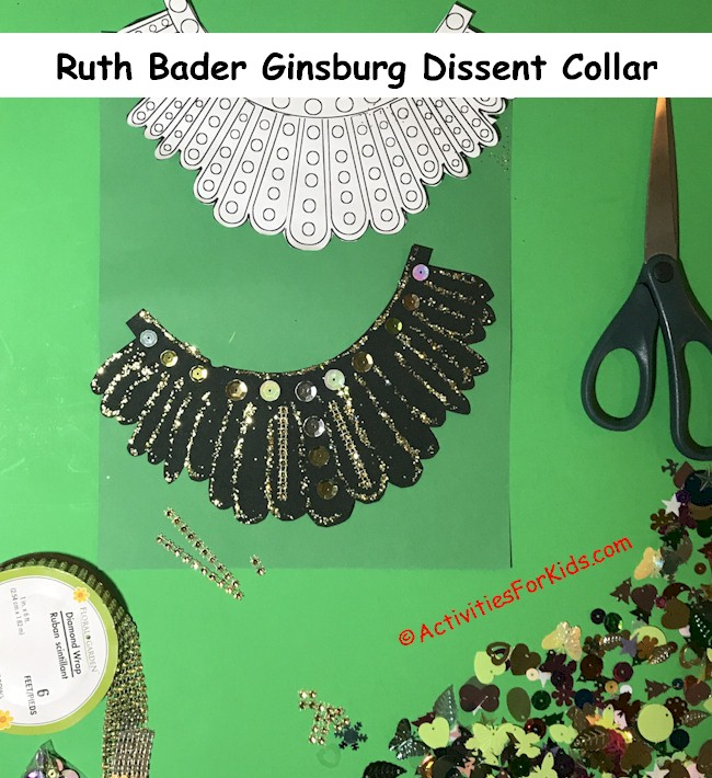 Step by step instructions for Ruth Bader Ginsburg's Dissent Collar DIY for kids. Completing the collar with sequins and embellishments.