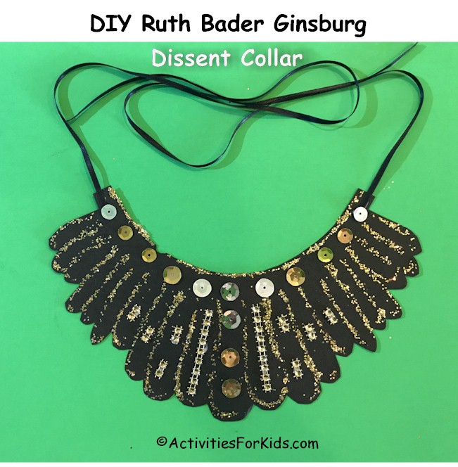 Ruth Bader Ginsburg's Dissent Collar DIY for kids.