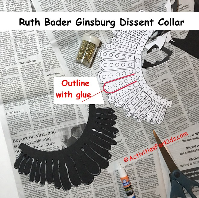 Step by step instructions for Ruth Bader Ginsburg's Dissent Collar DIY for kids. Adding glue to the construction paper.